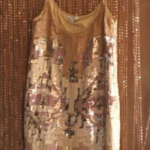 Boston Proper aztec print sequin &bead Dress 8 NWT